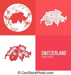 Switzerland Grunge Retro Map