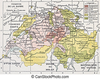 Switzerland historical development old map. By Paul Vidal de...