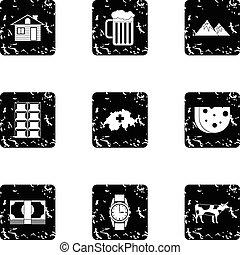 Switzerland icons set, grunge style