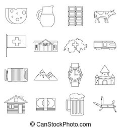 Switzerland Icons set, outline style