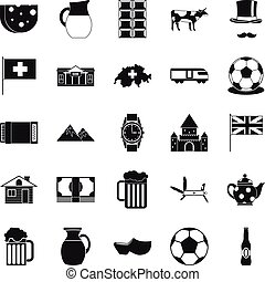Switzerland icons set, simple style