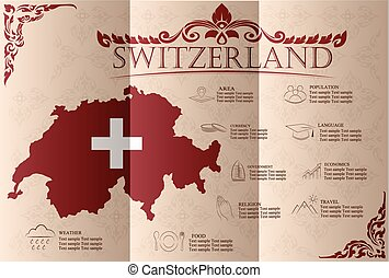 Switzerland infographics, statistical data, sights. Vector