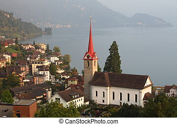 Switzerland lake in Lucerne Canton. village - Weggis