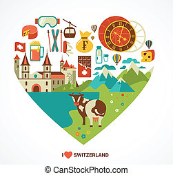 Switzerland love - heart with vector icons, travel and...