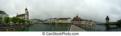 Switzerland, Lucerne, panoramic view of the city on a foggy day