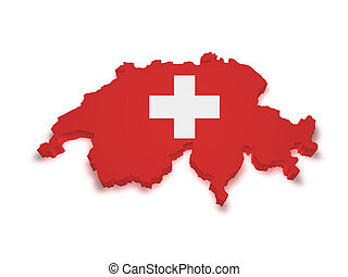 Switzerland Map 3d Shape - Shape 3d of Swiss flag and map...