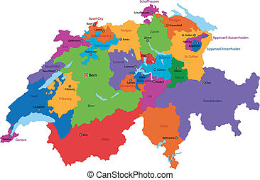 Switzerland map - Administrative division of the Swiss...