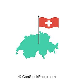 Switzerland Map and flag. Swiss State sign. Geography of country symbol
