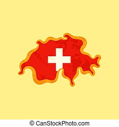 Switzerland - Map colored with Swiss flag