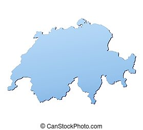 Switzerland map filled with light blue gradient. High...