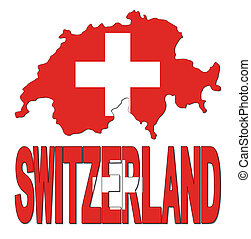 Switzerland map flag and text