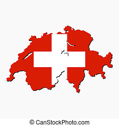 map of Switzerland with their flag illustration