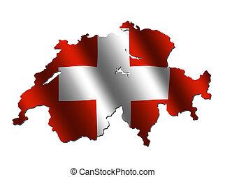 Switzerland map flag - Switzerland map with rippled flag on...
