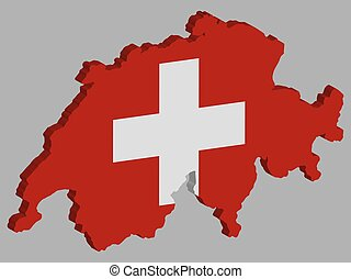 Switzerland Map flag Vector 3D illustration Eps 10