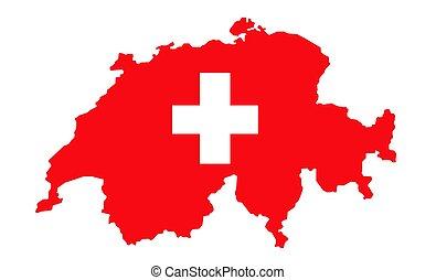 Switzerland Map Flag vector illustration