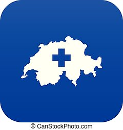 Switzerland map icon digital blue