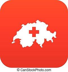 Switzerland map icon digital red