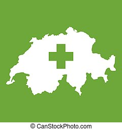 Switzerland map icon green