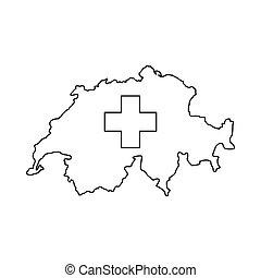 Switzerland map icon, outline style