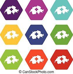 Switzerland map icon set color hexahedron