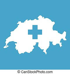 Switzerland map and flag icon  Vector illustration of