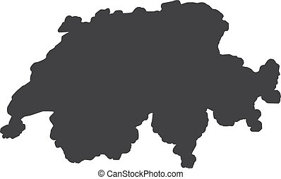 Switzerland map in black on a white background. Vector illustration