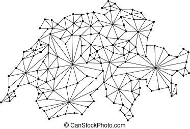 Switzerland map of polygonal mosaic lines network, rays and dots vector illustration.
