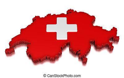 Switzerland - Map of Switzerland. 3d render Image. Image...