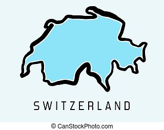 Switzerland map outline - smooth simplified country shape map vector.