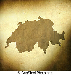 Switzerland map - There is a map of Switzerland on grunge...
