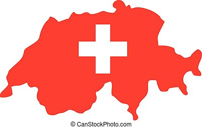 Switzerland map with flag
