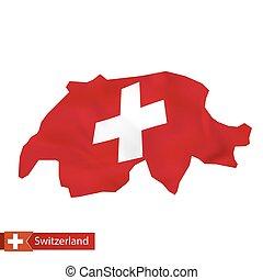 Switzerland map with waving flag of Switzerland.