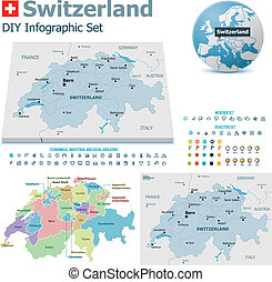 Switzerland maps with markers - Set of the political...