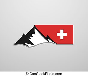 Switzerland mountain flag symbol