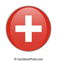 Switzerland national flag round glossy icon. Swiss cross white and red badge Isolated on white background.