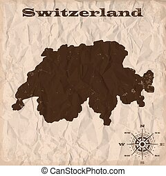 Switzerland old map with grunge and crumpled paper. Vector illustration