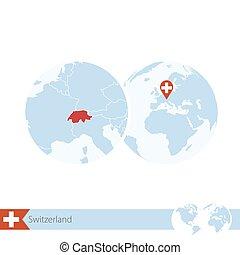 Switzerland on world globe with flag and regional map of Switzerland.