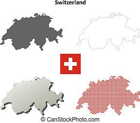 Switzerland outline map set