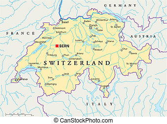 Political map of Switzerland with capital Bern, national borders, most important cities, rivers and lakes with english labeling and scale. Vector illustration using transparencies.
