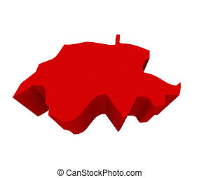 Switzerland Red 3d Europe Map Isolated