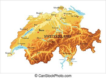 Switzerland relief map - Highly detailed physical map of ...
