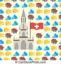 Switzerland seamless pattern of symbols of country. Banks and Alps, cheese and Bern Cathedral. Vector background.