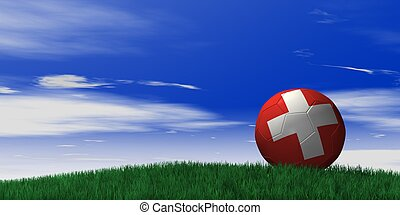 Switzerland soccer ball on grassand sky background