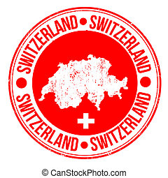 Switzerland stamp - Grunge rubber stamp with map and the...