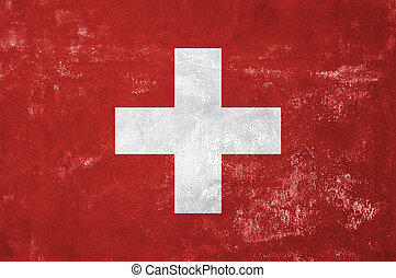 Switzerland - Swiss Flag on Old Grunge Texture Background