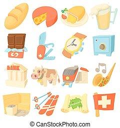 Switzerland travel icons set, cartoon style - Switzerland ...