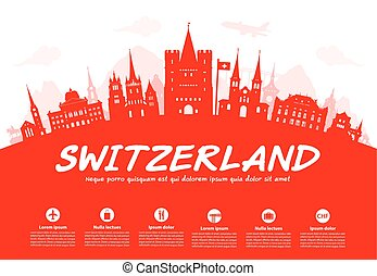Switzerland Travel Landmarks. Vector and Illustration