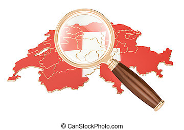 Switzerland under magnifying glass, analysis concept, 3D rendering