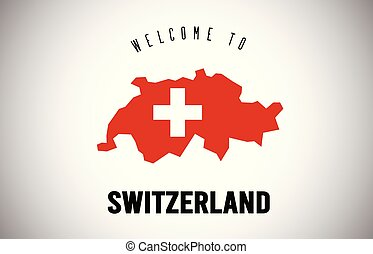 Switzerland Welcome to Text and Country flag inside Country border Map Vector Design.