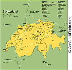 Switzerland, editable vector map broken down by administrative districts includes surrounding countries, in color with cities, district names and capitals, all objects editable. Great for building sales and marketing territory maps, illustrations, web graphics and graphic design. Includes sections ...